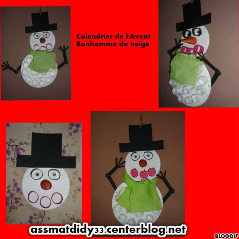 Calendrier de l 39 avent bonhomme de neige bricolage enfant - Calendrier de l avent en bonhomme de neige ...